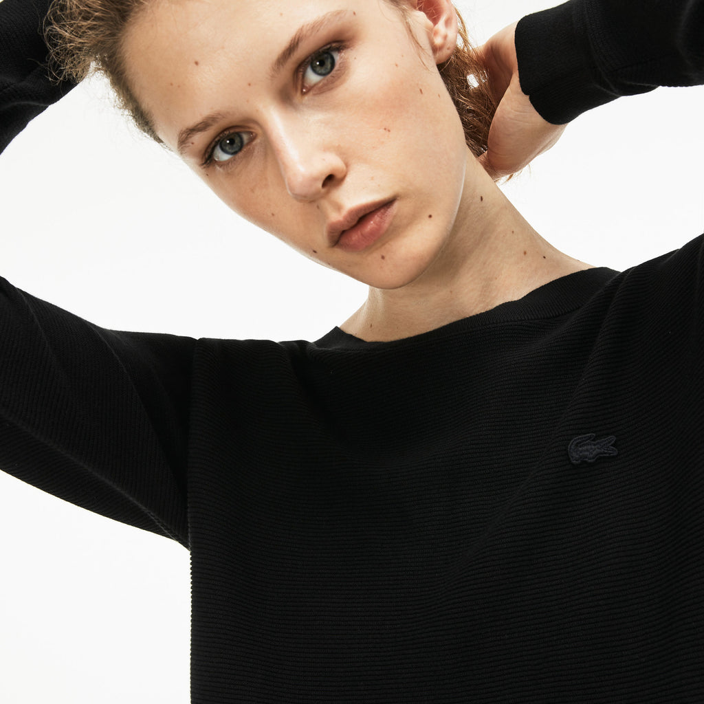 Women's Lacoste Boat Neck Seed Stitch Cotton Sweater Black AF8768ABT | Chicago City Sports | detailed view on model