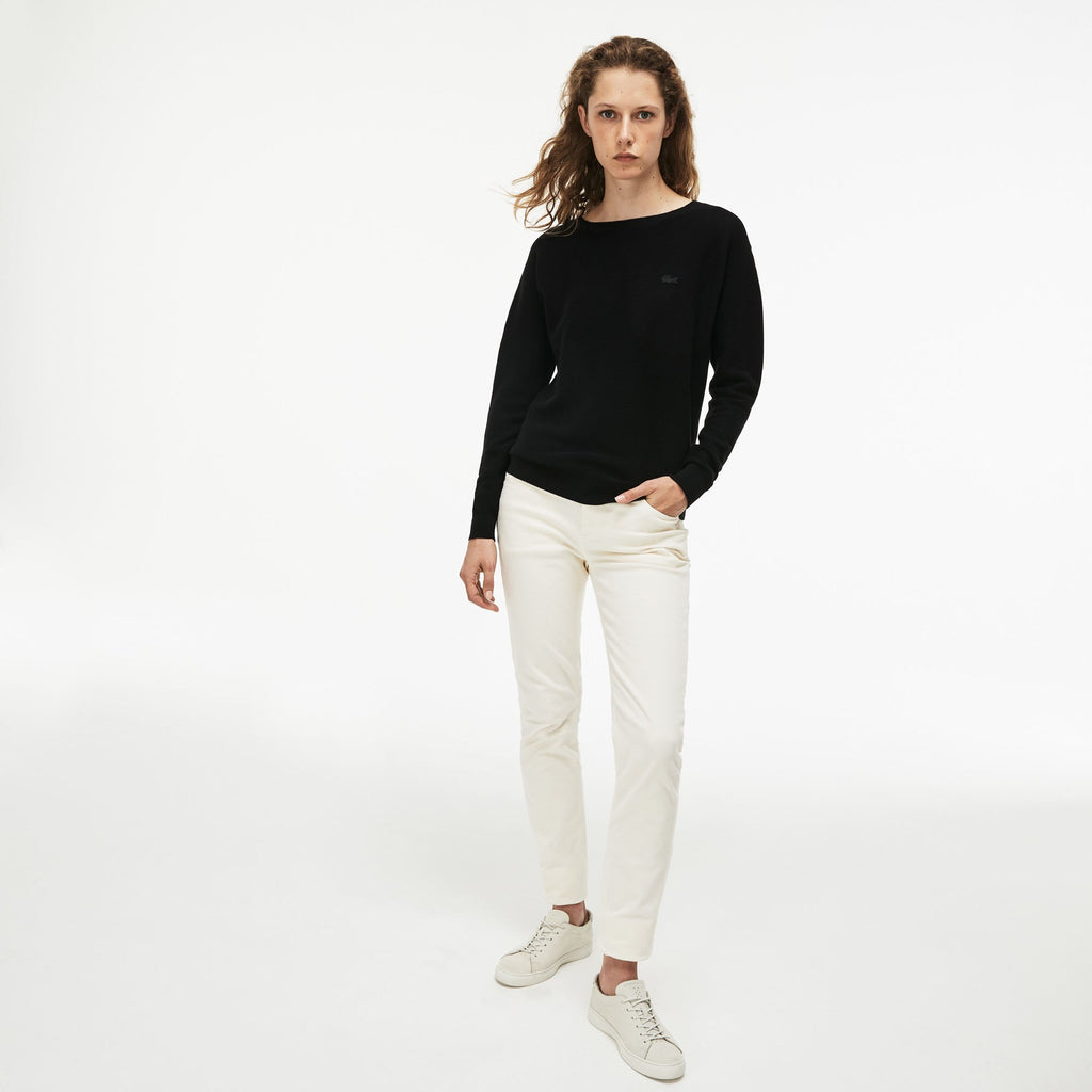 Women's Lacoste Boat Neck Seed Stitch Cotton Sweater Black AF8768ABT | Chicago City Sports | front view on model