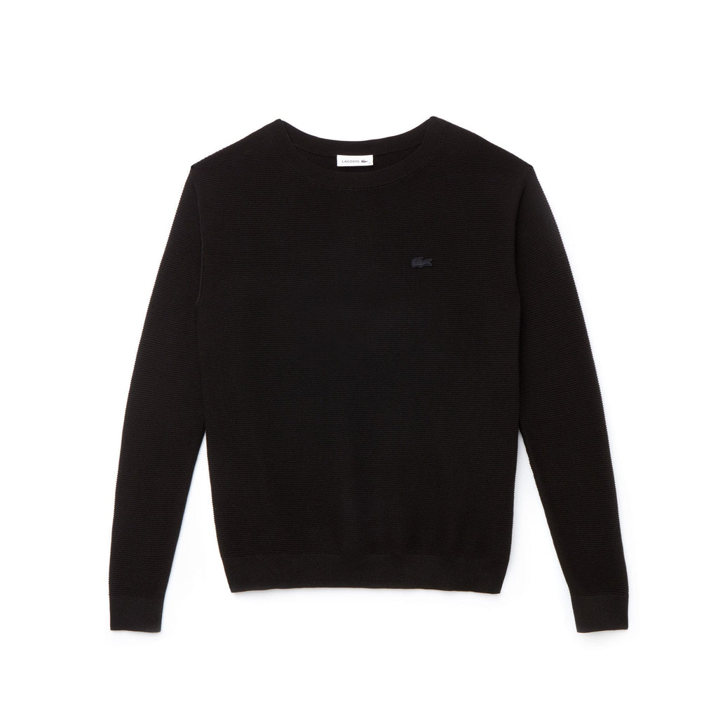 Women's Lacoste Boat Neck Seed Stitch Cotton Sweater Black AF8768ABT | Chicago City Sports | front view