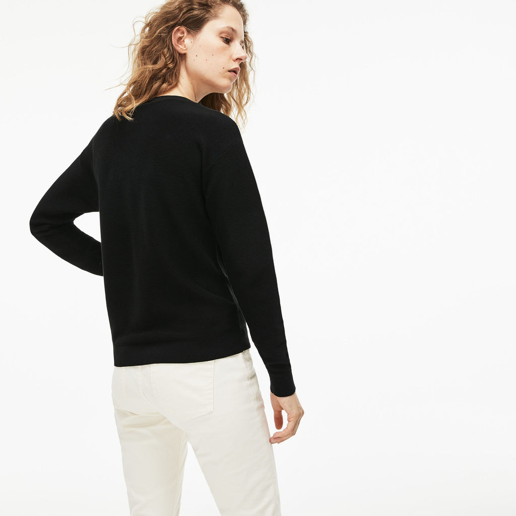 Women's Lacoste Boat Neck Seed Stitch Cotton Sweater Black AF8768ABT | Chicago City Sports | rear view on model