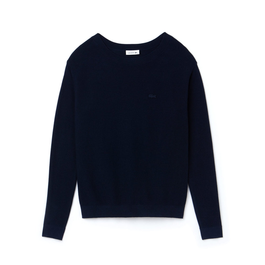 Women's Lacoste Boat Neck Seed Stitch Cotton Sweater Navy AF8768166 | Chicago City Sports | front view