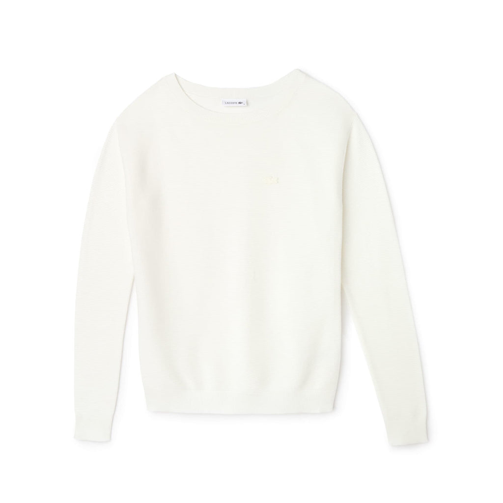 Women's Lacoste Boat Neck Seed Stitch Cotton Sweater White