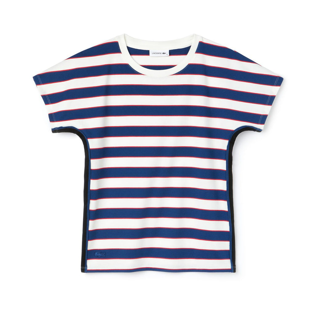 Women's Lacoste Crew Neck Colorblock Striped Tee White/ Navy