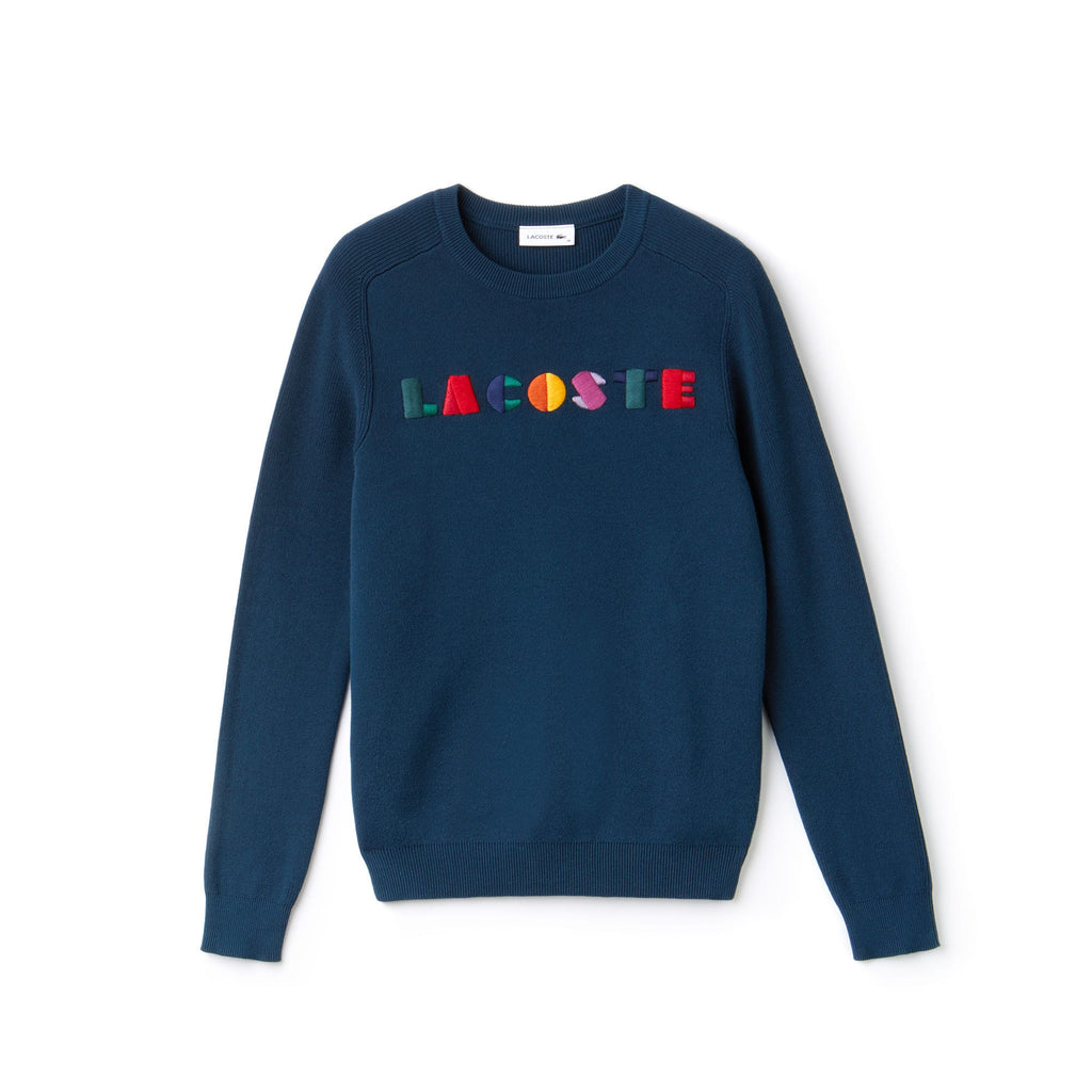 Women's Lacoste Crew Neck Multicolor Embroidery Interlock Sweater Navy Blue AF8762SUA | Chicago City Sports | front view