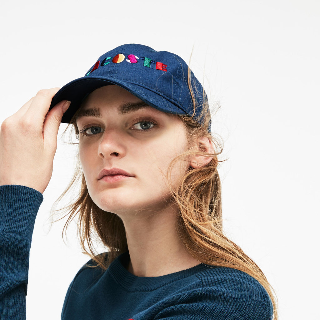 Women's Lacoste Crew Neck Multicolor Embroidery Interlock Sweater Navy Blue AF8762SUA | Chicago City Sports | coordinated hat view on model