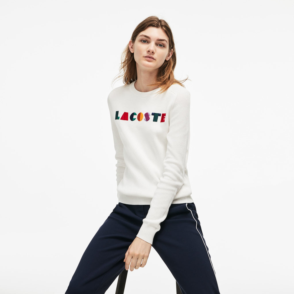 Women's Lacoste Crew Neck Multicolor Embroidery Interlock Sweater White