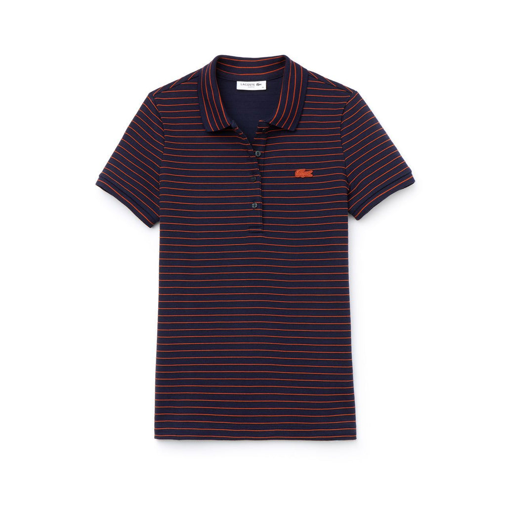 Women's Lacoste Slim Fit Striped Polo Navy (PF8769CDG) | Chicago City Sports | front view