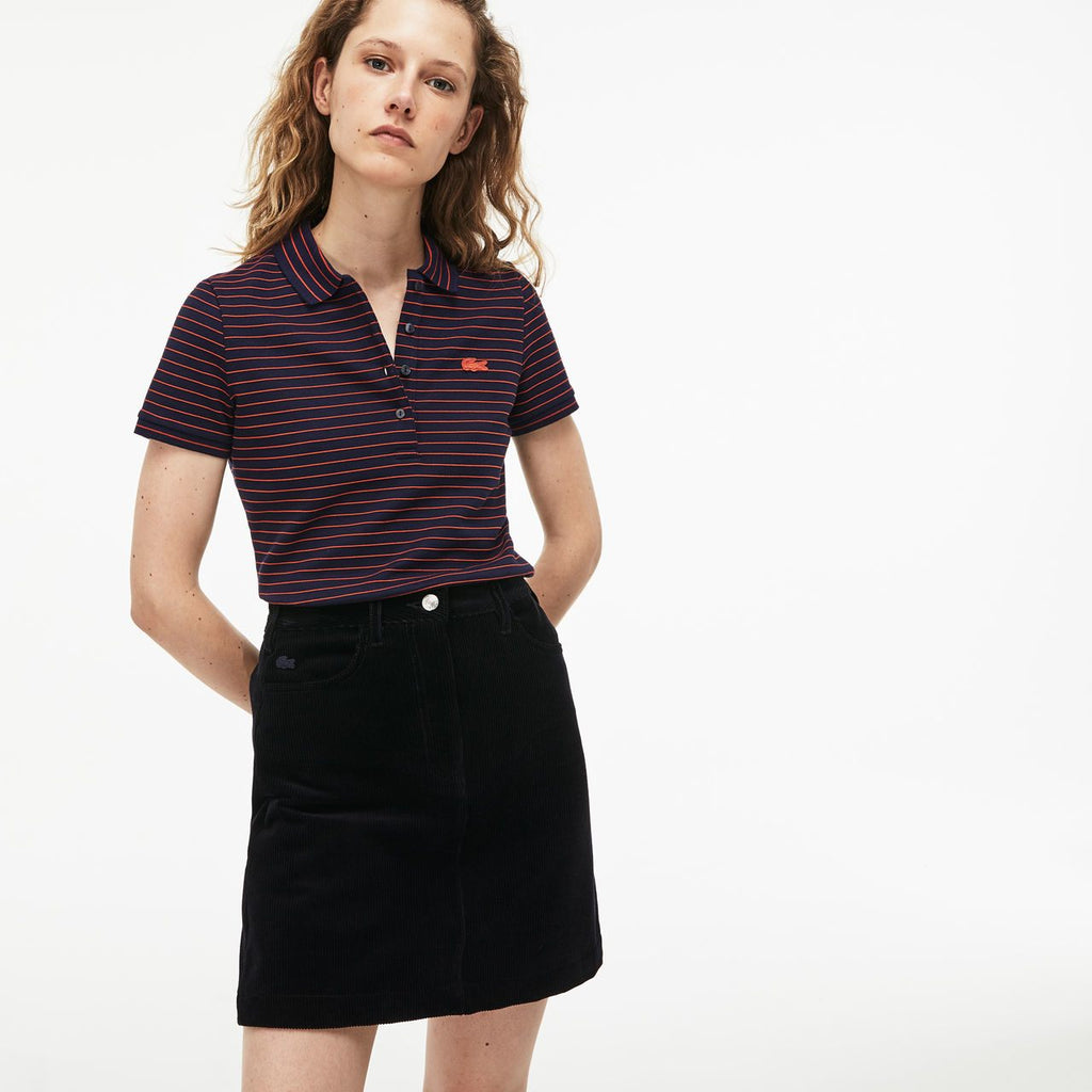 Women's Lacoste Slim Fit Striped Polo Navy (PF8769CDG) | Chicago City Sports | front view on model