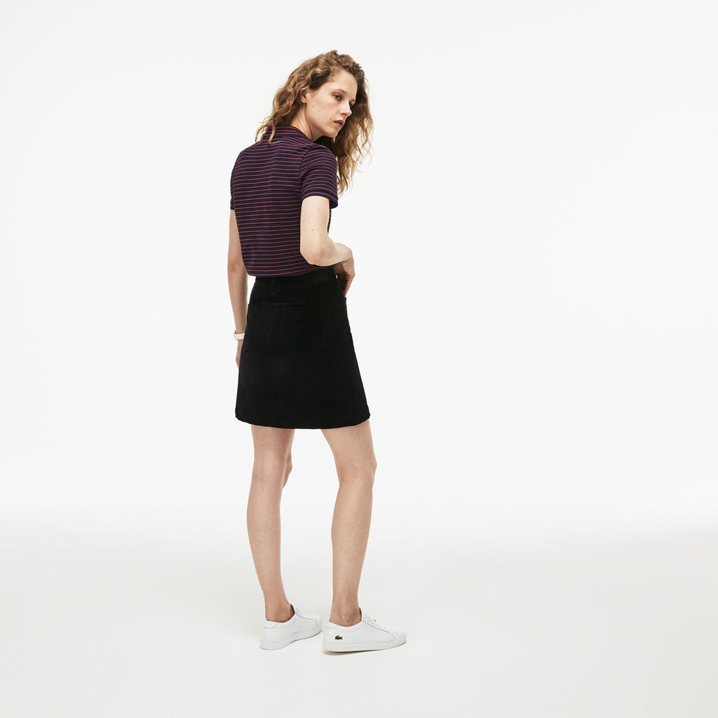 Women's Lacoste Slim Fit Striped Polo Navy (PF8769CDG) | Chicago City Sports | rear view on model