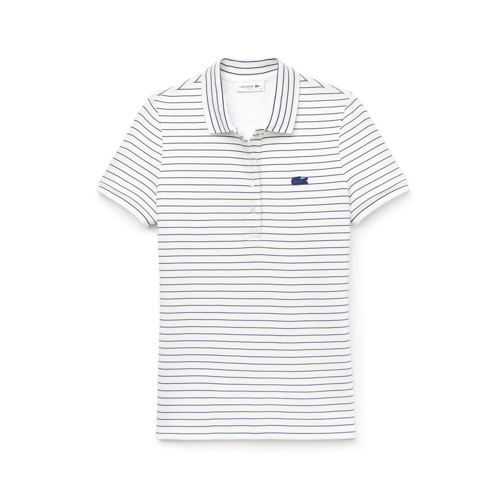 Women's Lacoste Slim Fit Striped Polo White