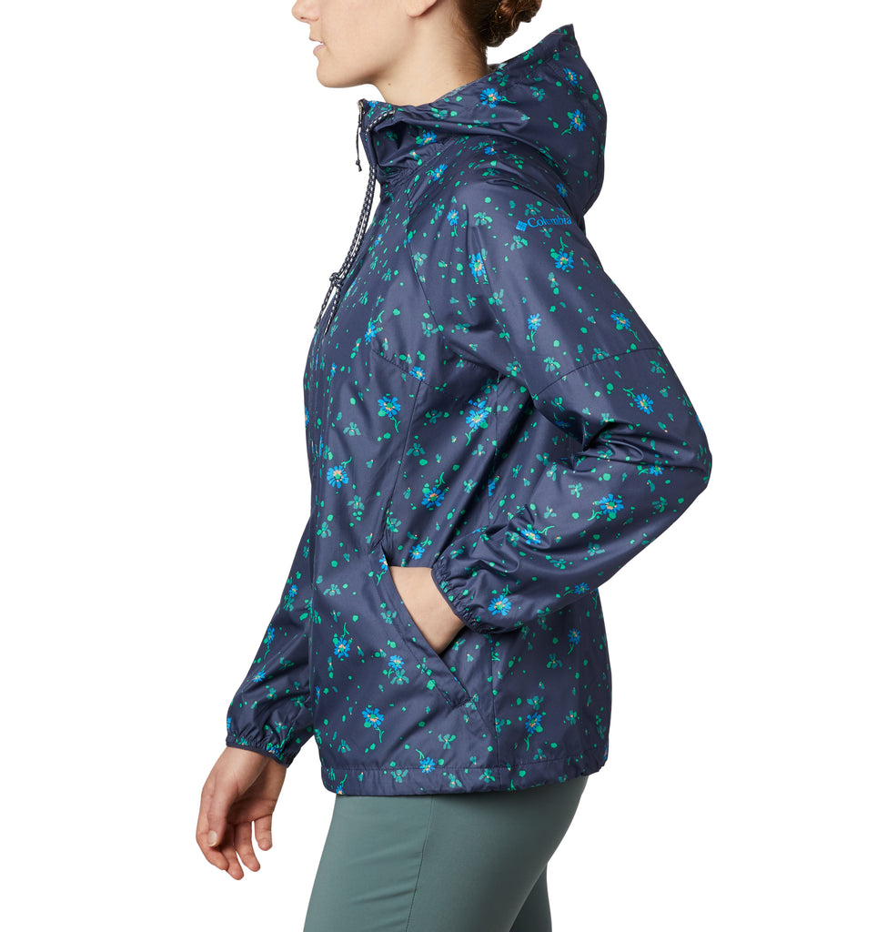 Women's Columbia Side Hill Printed Windbreaker Navy