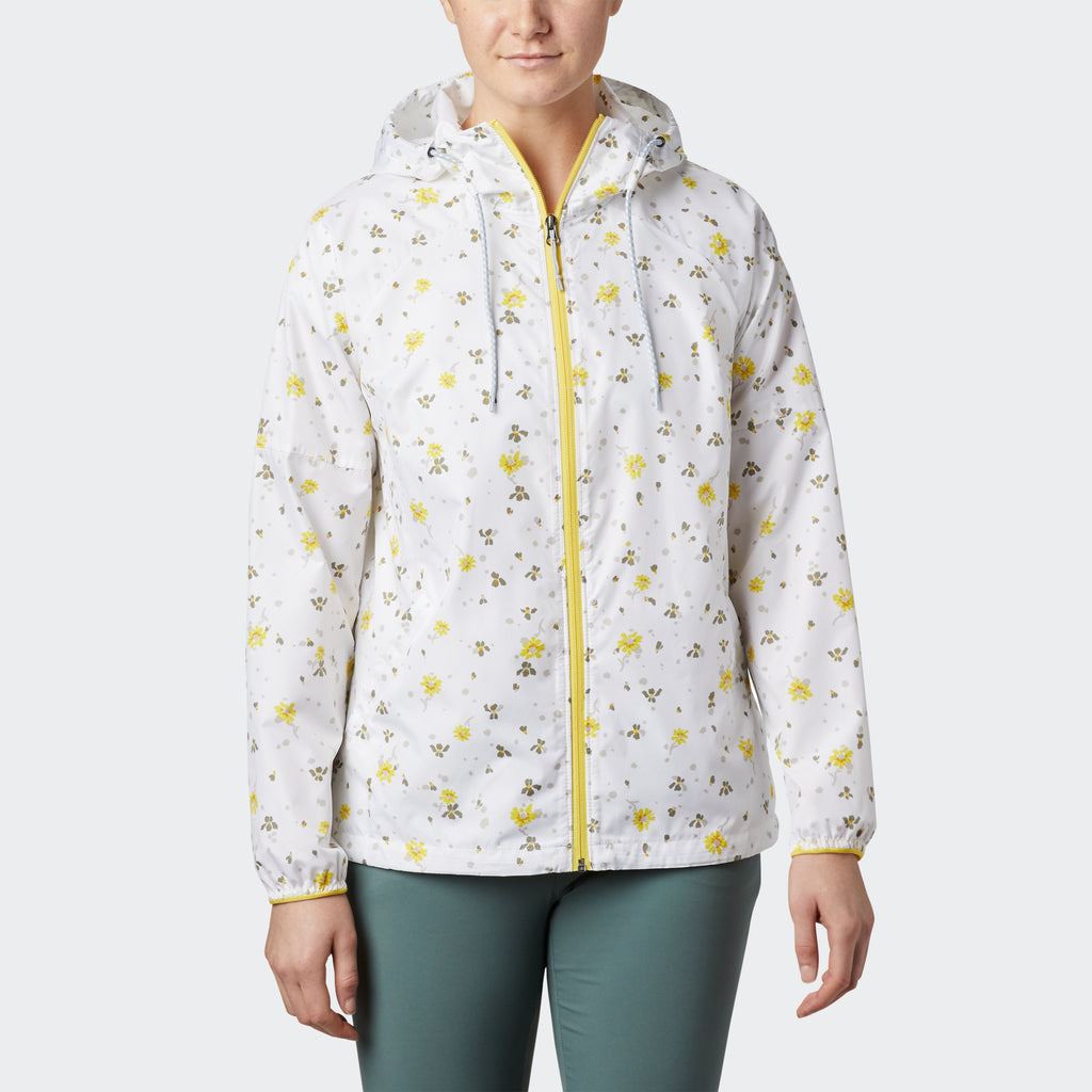 Women's Columbia Side Hill Printed Windbreaker White