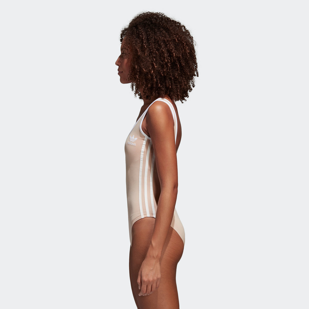 Women's adidas 3-Stripes Bodysuit Ash Pearl Pink