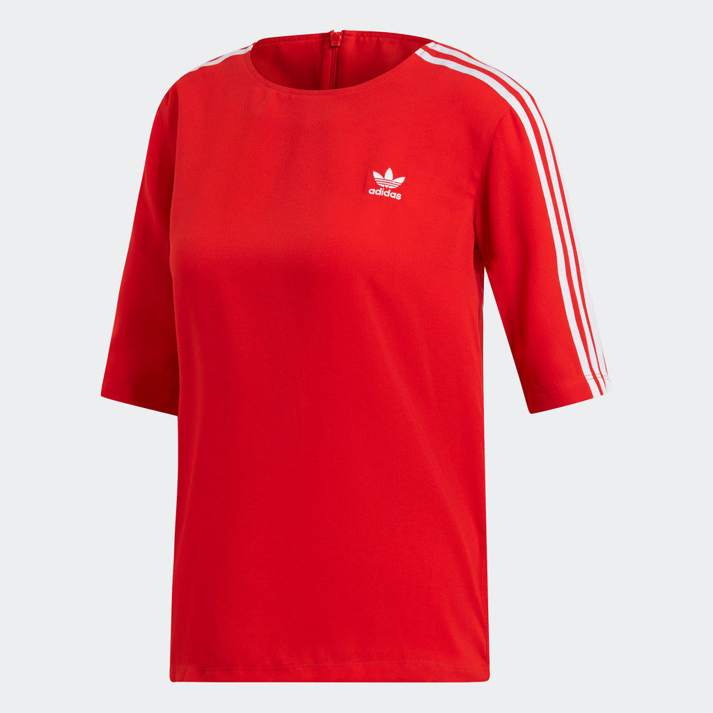Women's adidas Originals 3-Stripes Dressy Tee Red