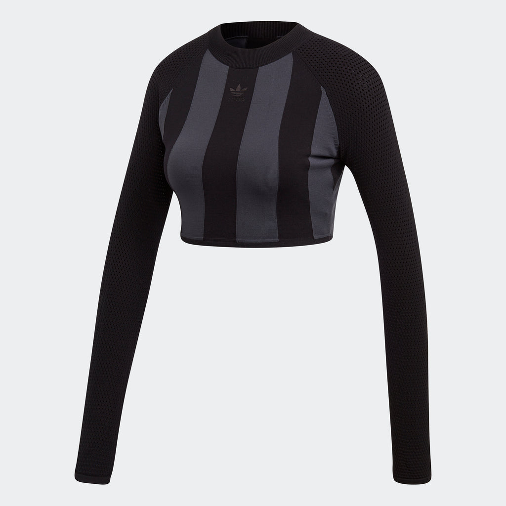 Women's adidas Originals AA-42 Cropped Knit Tee Black