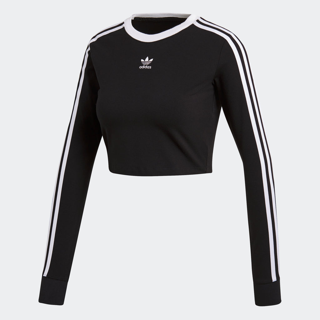 Women's adidas Originals Cropped Long-Sleeve Tee Black