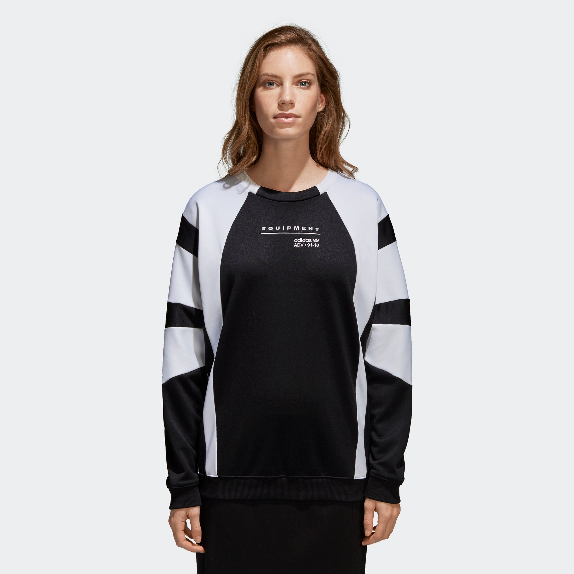 Women s adidas Originals EQT Sweatshirt Black and White CV7778 ... f7dde43c0
