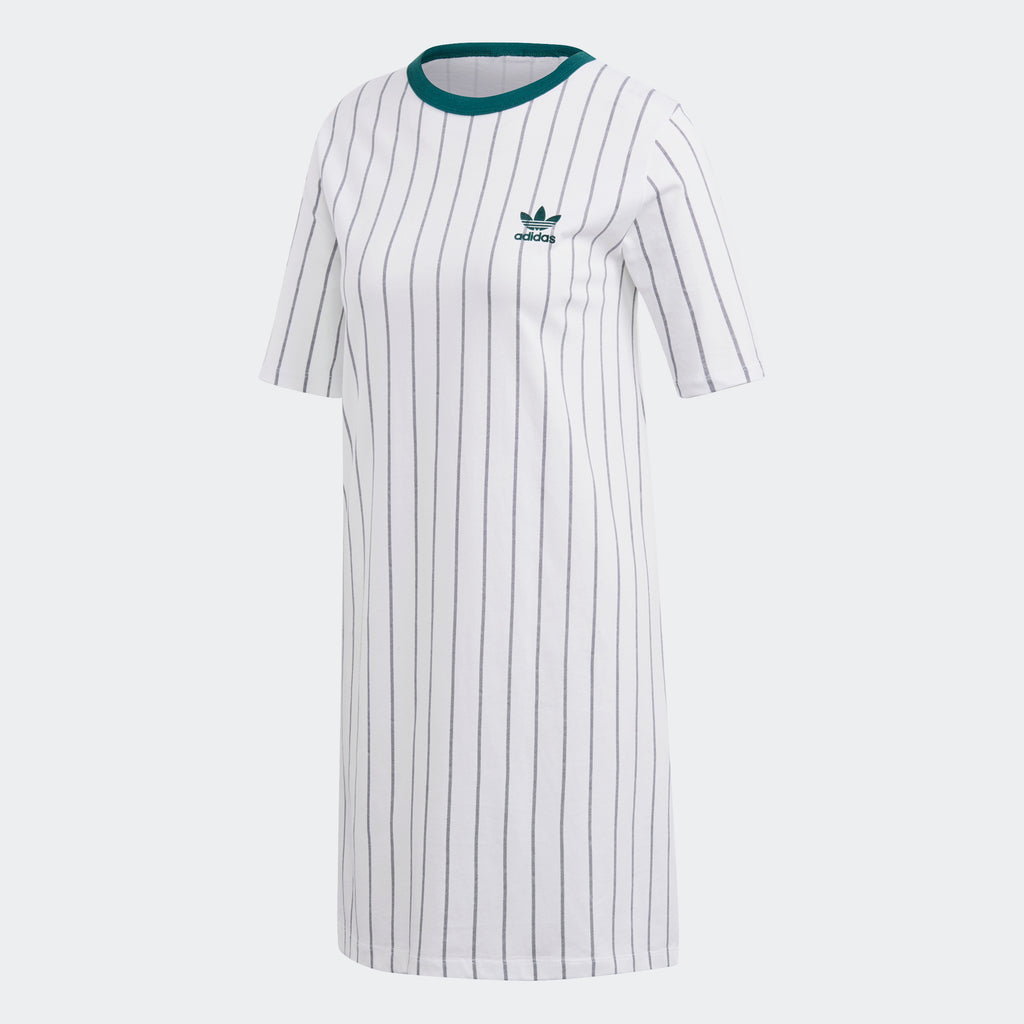 Women's adidas Originals Tee Dress White Green Pinstripes