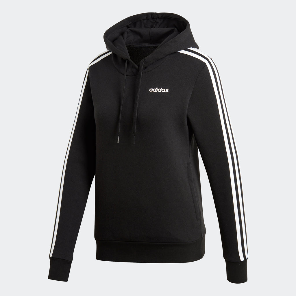 Women's adidas Essentials 3-Stripes Hoodie Black EI0708 | Chicago City Sports | front view