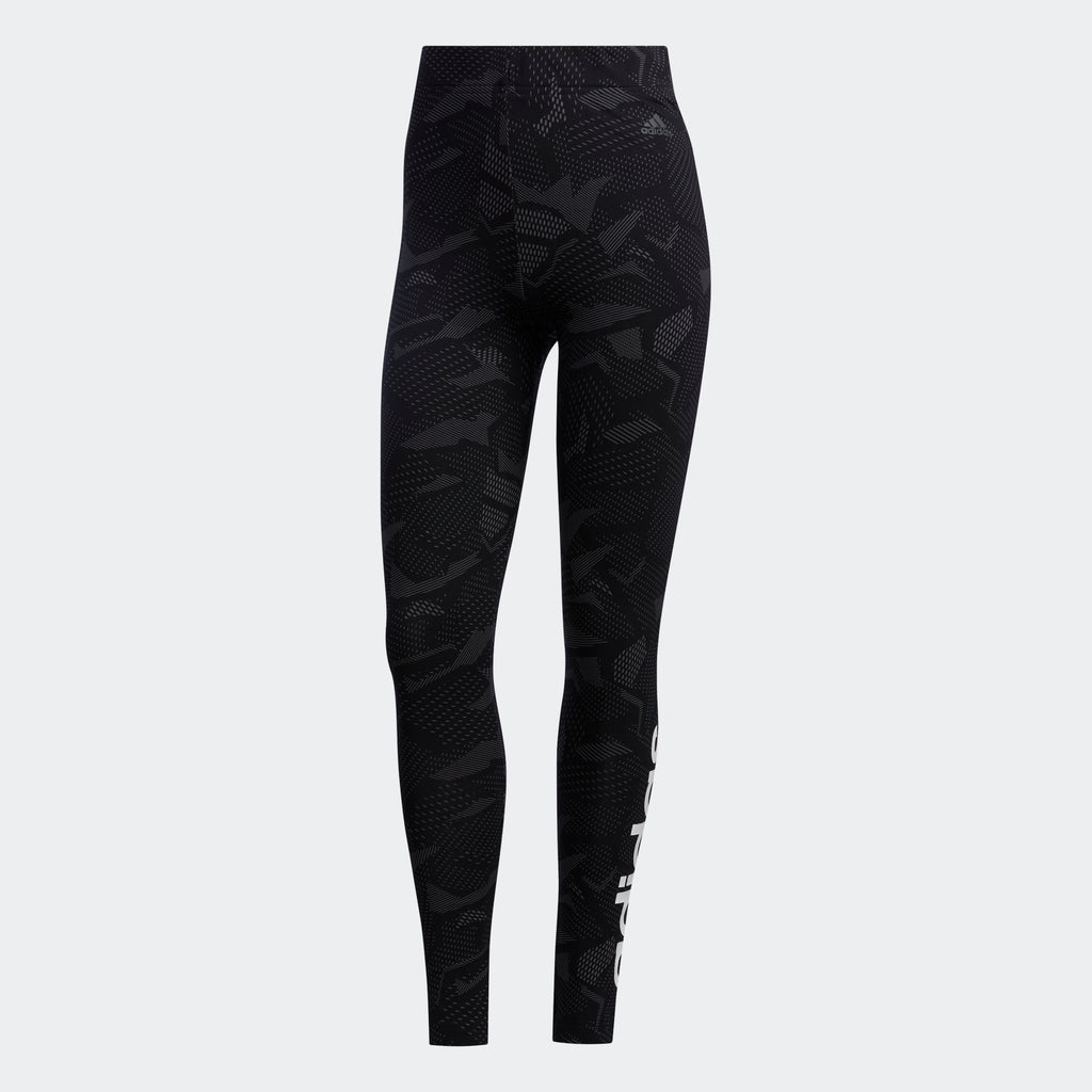Women's adidas Essentials Allover Print Leggings Black GE1140 | Chicago City Sports | front view