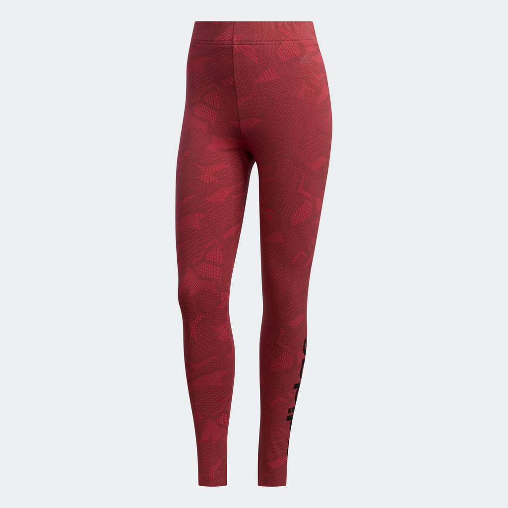 Women's adidas Essentials Allover Print Leggings Power Pink GE1141 | Chicago City Sports | front view