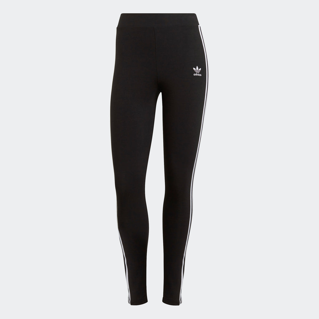 Women's adidas Originals Adicolor 3-Stripes Leggings Black GN4504 | Chicago City Sports | front view