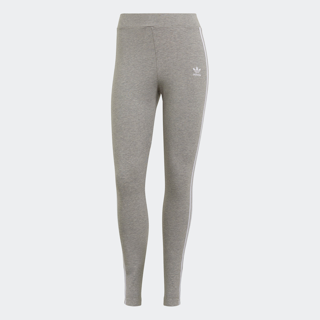 Women's adidas Originals Adicolor 3-Stripes Leggings Grey GN4506 | Chicago City Sports | front view