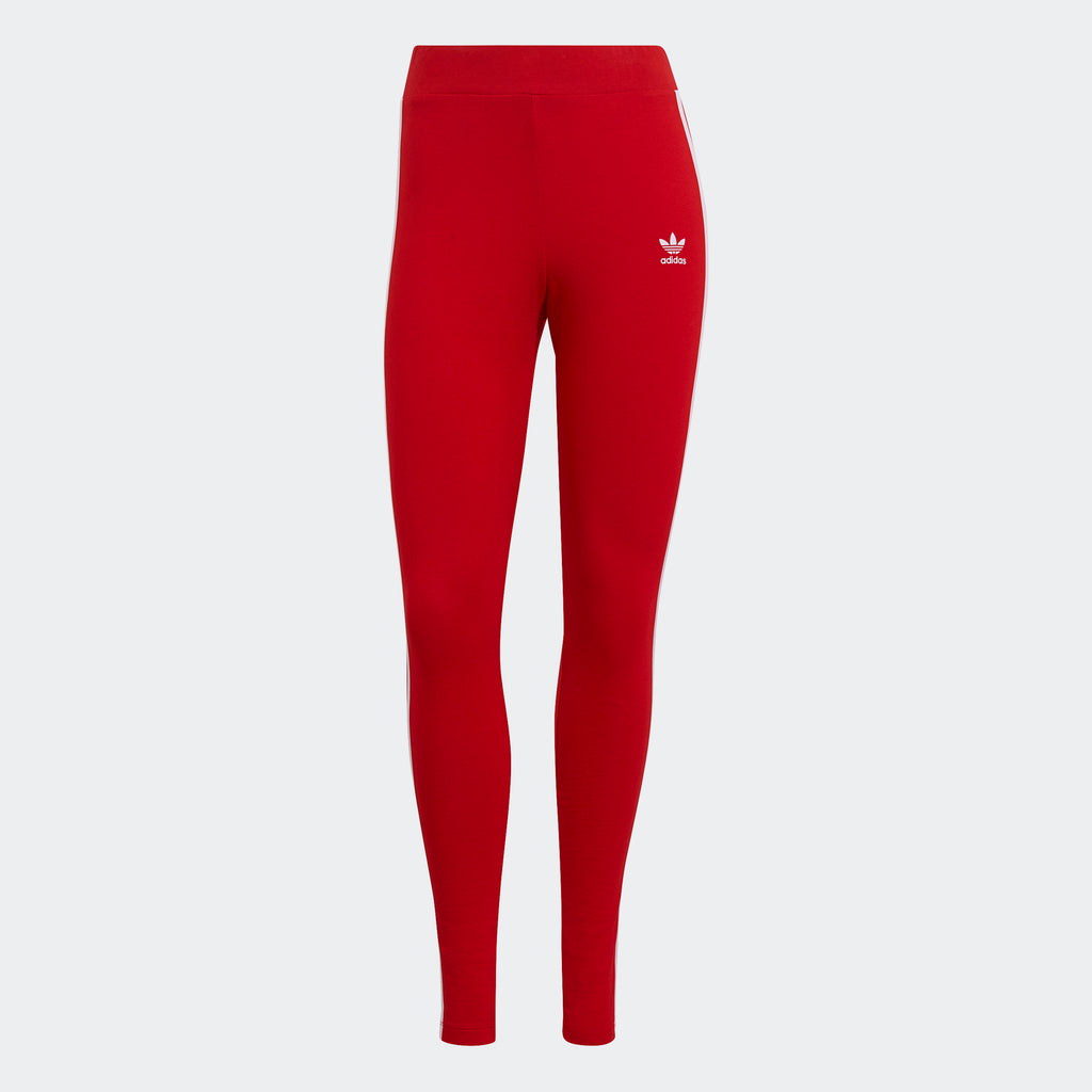 Women's adidas Originals Adicolor 3-Stripes Leggings Red GN8076 | Chicago City Sports | front view