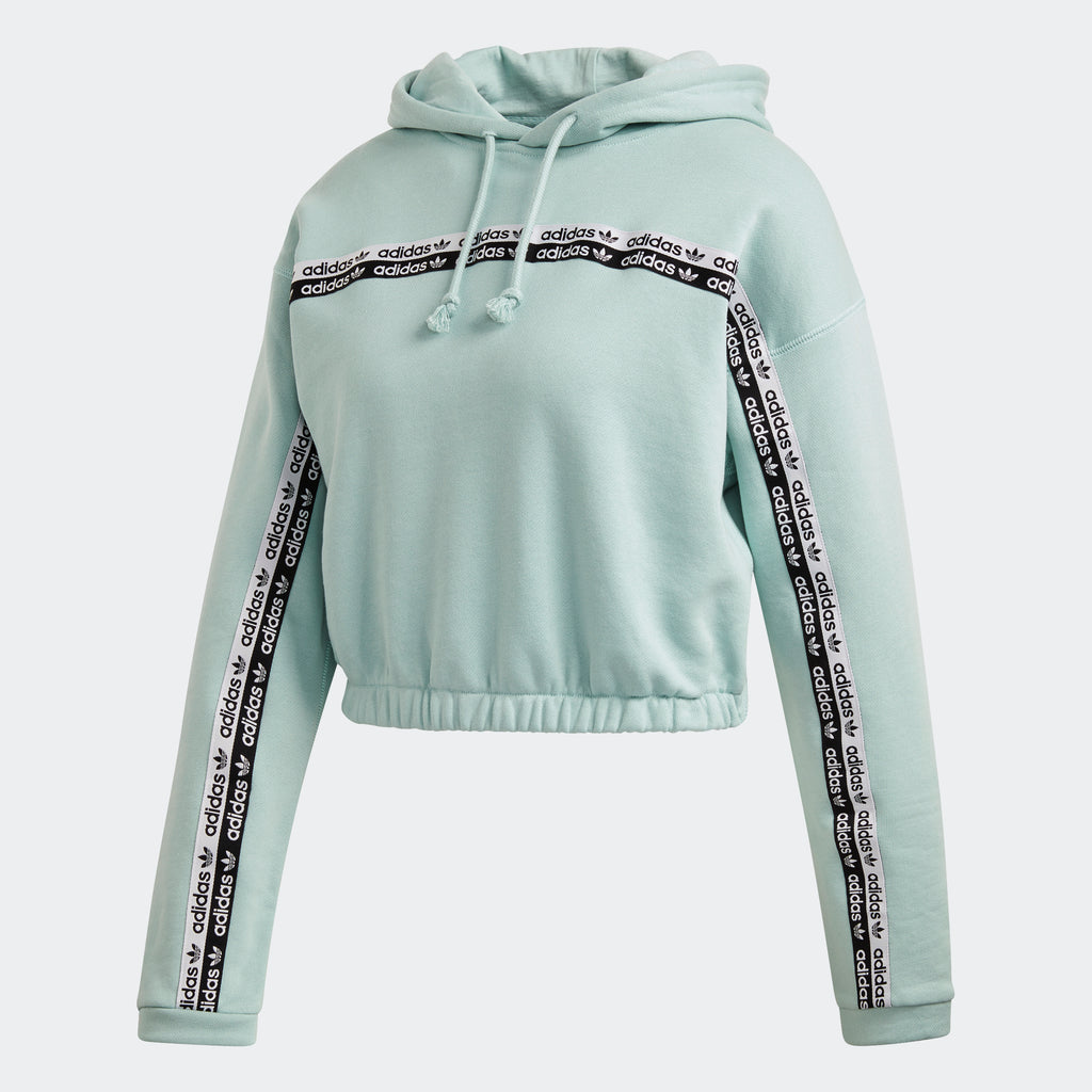 Women's adidas Cropped Hoodie Green Tint FM2515 | Chicago City Sports | front view