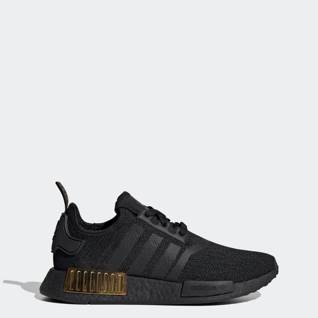 adidas NMD_R1 Shoes Black Gold Metallic FV1787 | Chicago City Sports | side view