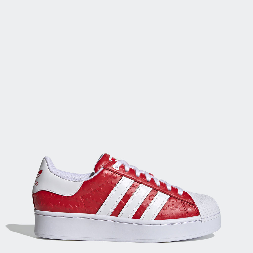 Women's adidas Originals Superstar Bold Shoes Scarlet Red (SKU FZ1836) | Chicago City Sports | side view