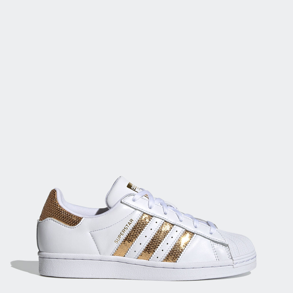 Women's adidas Originals Superstar Shoes White Gold G55658 | Chicago City Sports | side view