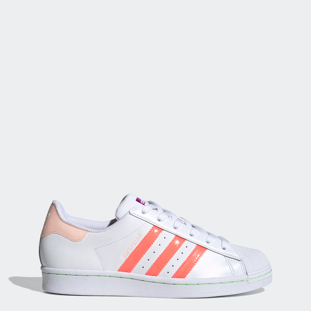 Women's adidas Superstar Shoes White Signal Pink SKU FW2502 | Chicago City Sports | side view
