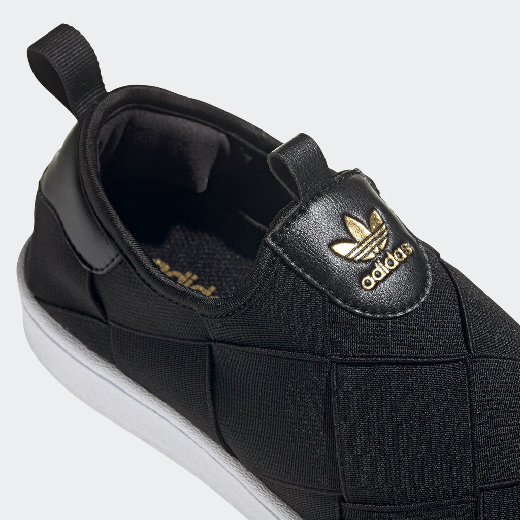 Women's adidas Originals Superstar Slip-On Shoes Black FV3187 | Chicago City Sports | detailed top view