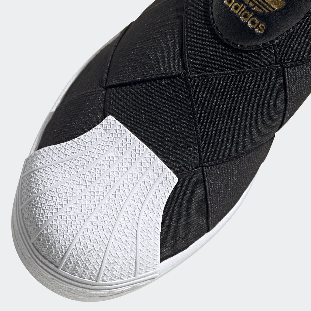 Women's adidas Originals Superstar Slip-On Shoes Black FV3187 | Chicago City Sports | detailed toe area view