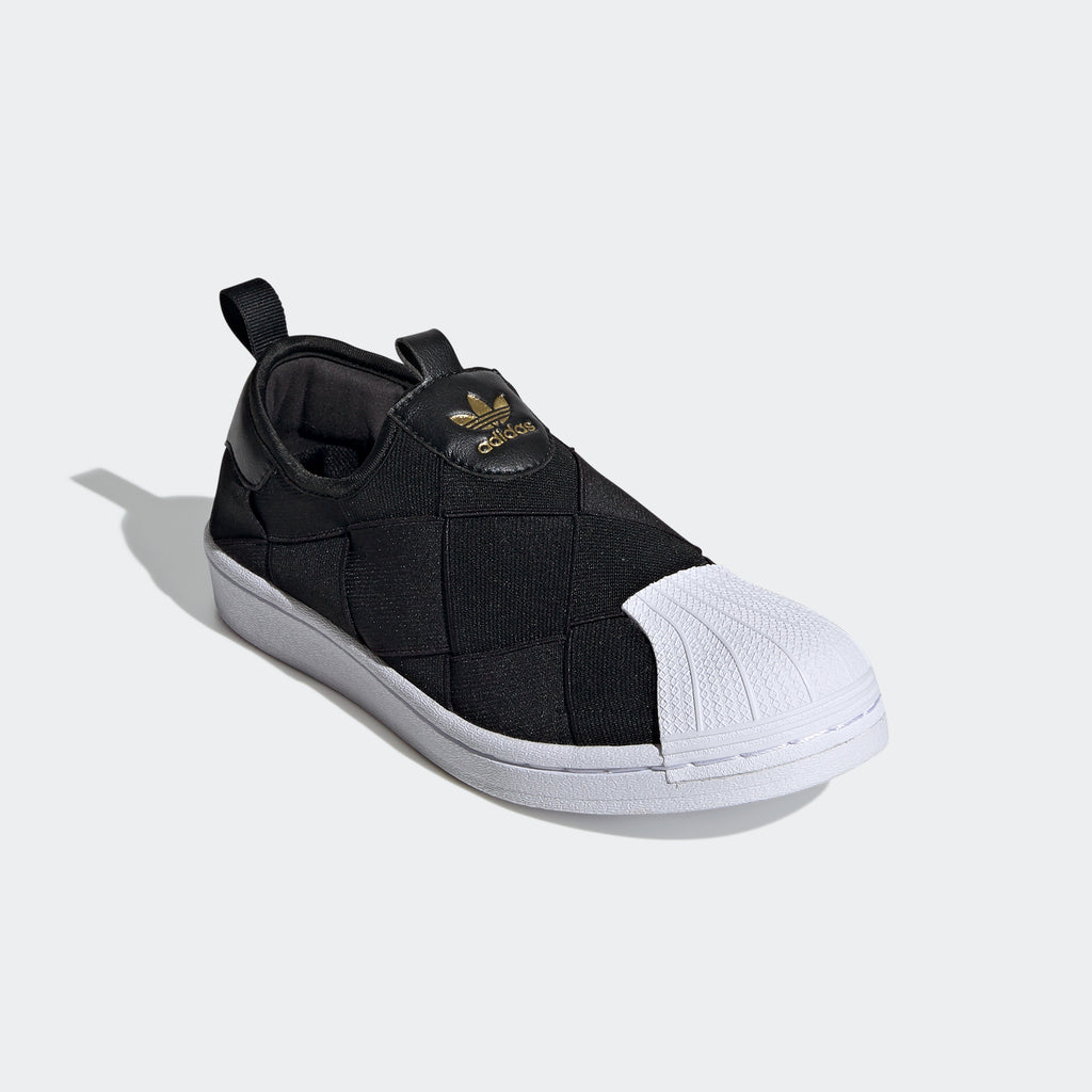 Women's adidas Originals Superstar Slip-On Shoes Black FV3187 | Chicago City Sports | diagonal view