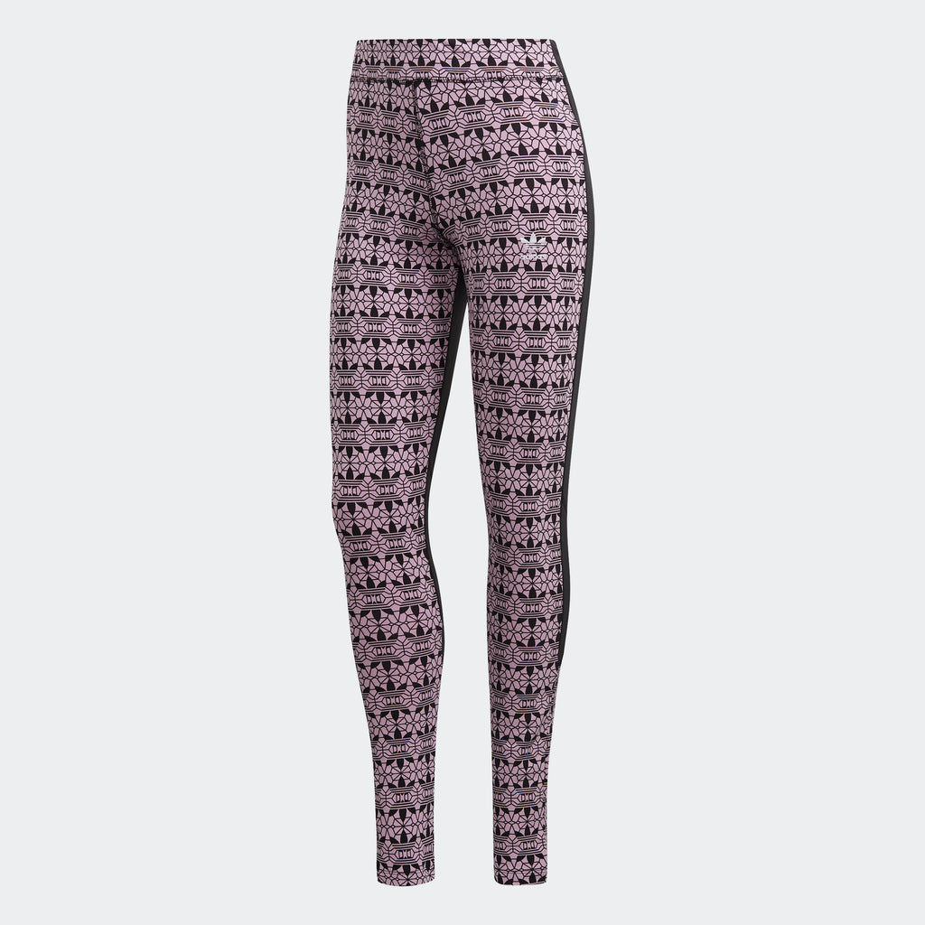 Women's adidas Originals Trefoil Allover Print Leggings FL4133 | Chicago City Sports | front view