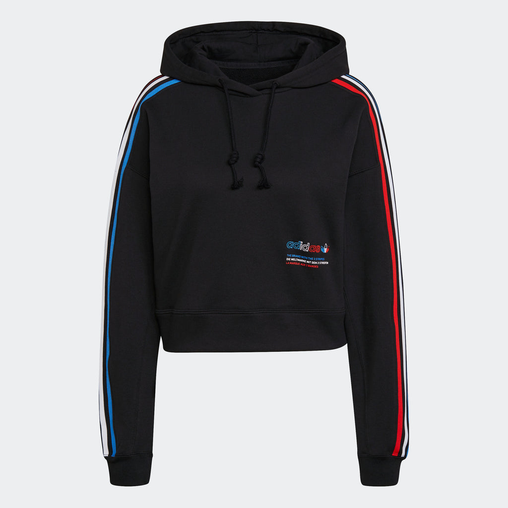 Women's adidas Originals Tricolor Trefoil Crop Hoodie Black GN2853 | Chicago City Sports | front view