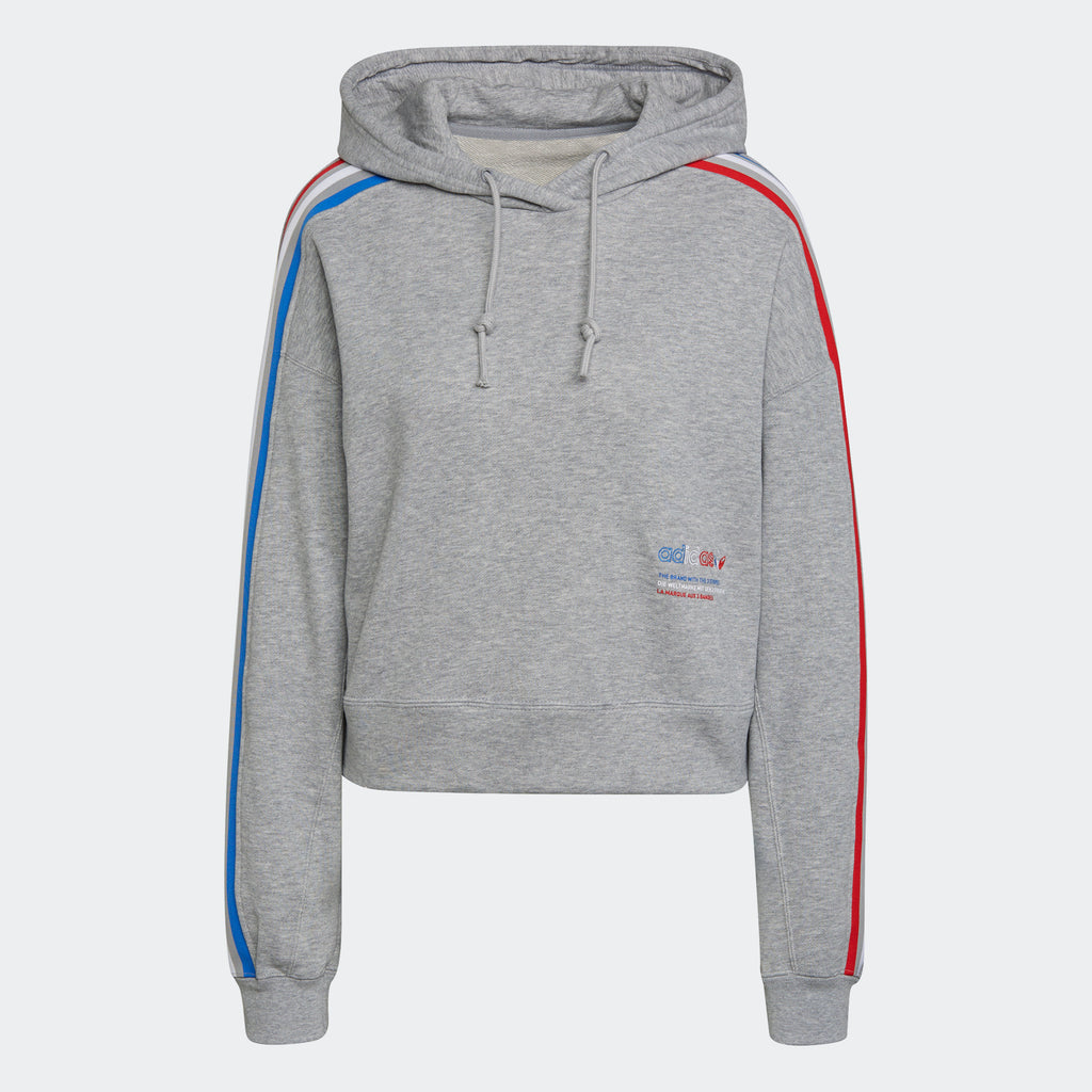 Women's adidas Originals Tricolor Trefoil Crop Hoodie Grey GN2855 | Chicago City Sports | front view