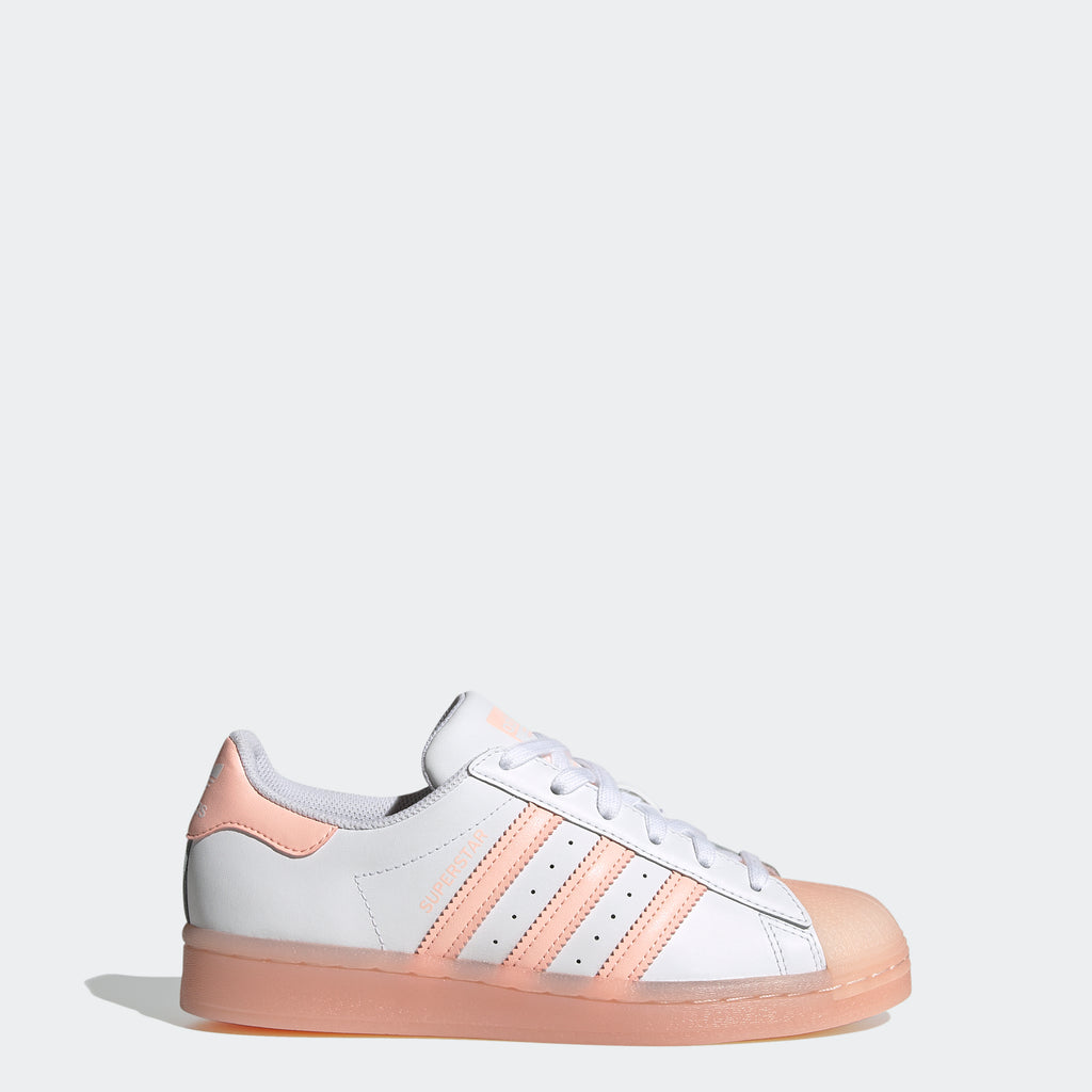 Kids' adidas Superstar Shoes White Coral FW3977 | Chicago City Sports | side view
