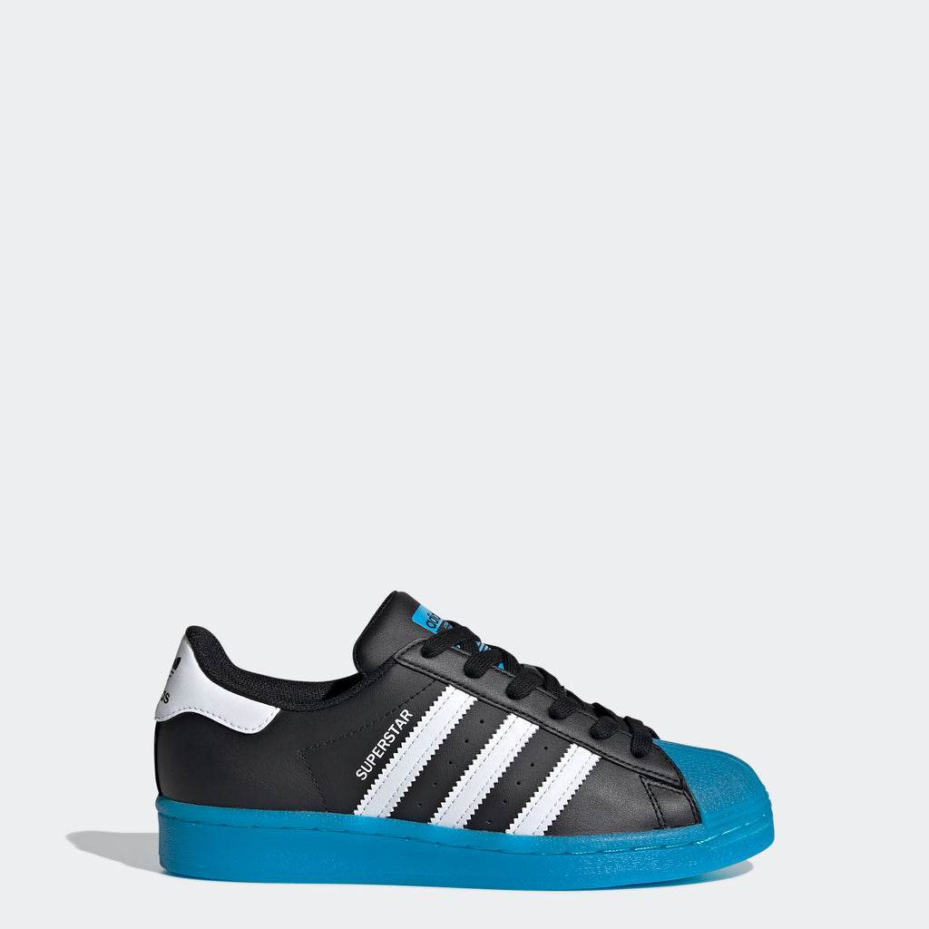 Kids' adidas Superstar Shoes Black Cyan FW3981 | Chicago City Sports | side view