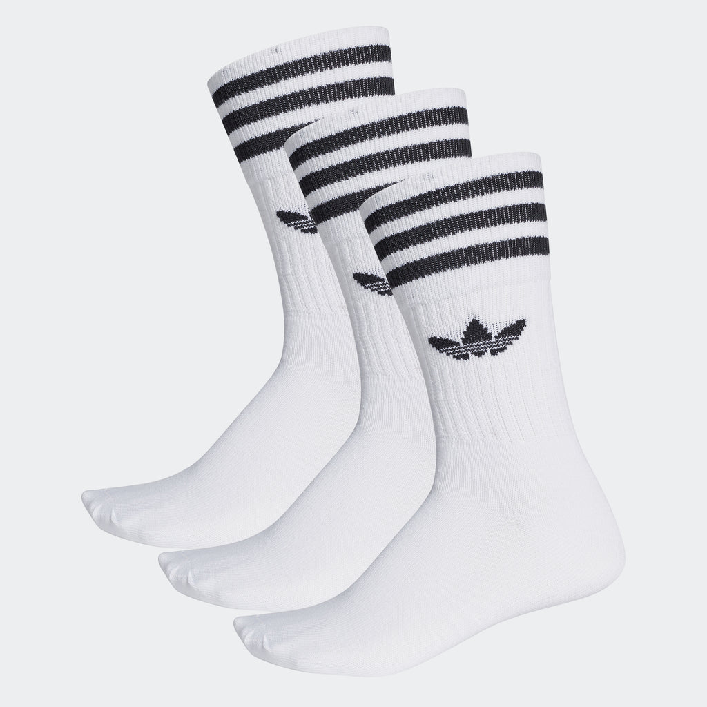 adidas Originals Solid Crew Socks 3 Pairs White Black
