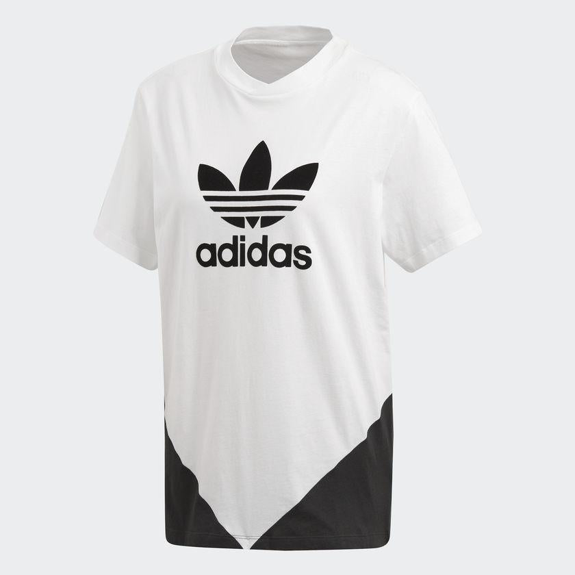 Women's adidas Originals CLRDO Tee White and Black CE1741 | Chicago City Sports | front view
