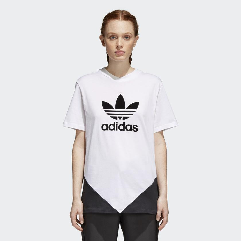 Women's adidas Originals CLRDO Tee White and Black CE1741 | Chicago City Sports | on model view