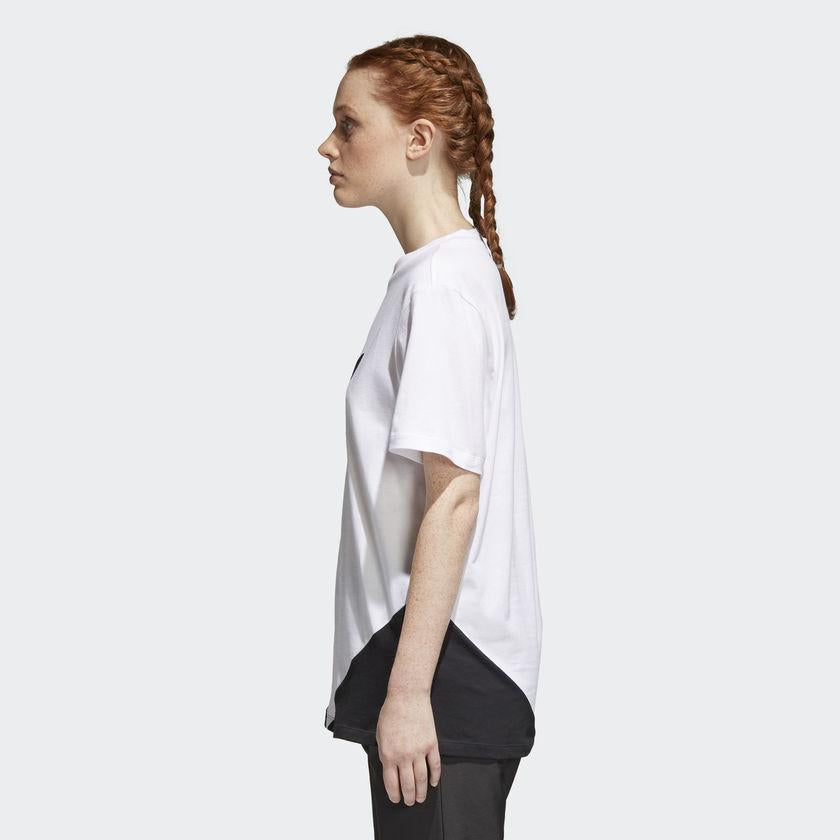 Women's adidas Originals CLRDO Tee White and Black CE1741 | Chicago City Sports | side view on model