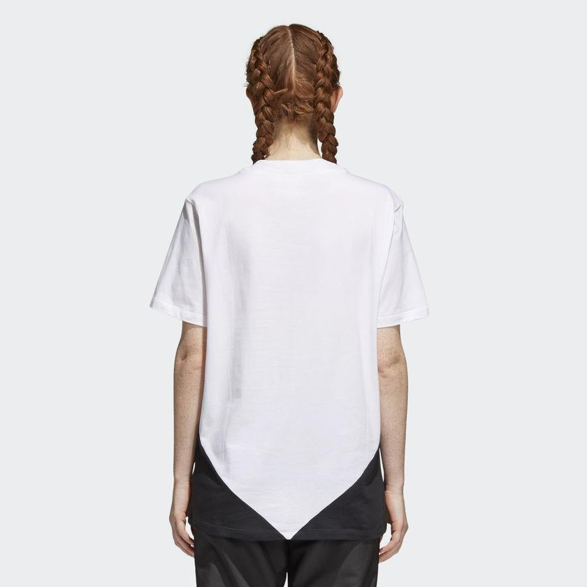 Women's adidas Originals CLRDO Tee White and Black CE1741 | Chicago City Sports | rear view on model