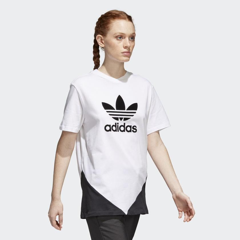 Women's adidas Originals CLRDO Tee White and Black CE1741 | Chicago City Sports | front view on model