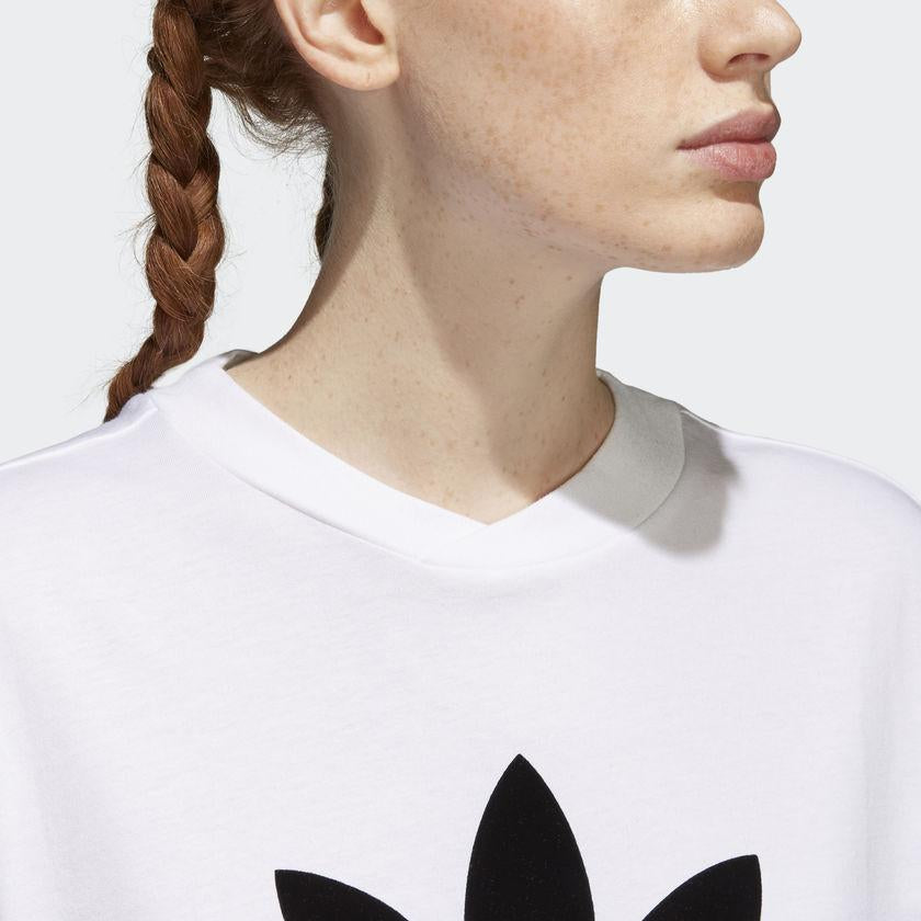 Women's adidas Originals CLRDO Tee White and Black CE1741 | Chicago City Sports | collar view