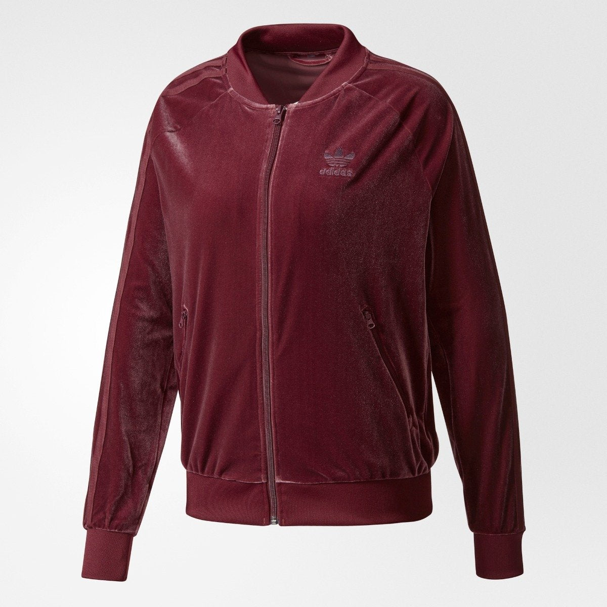 a78a8c156535 Women s adidas Originals Velvet Vibes SST Track Jacket Maroon CW0271 ...