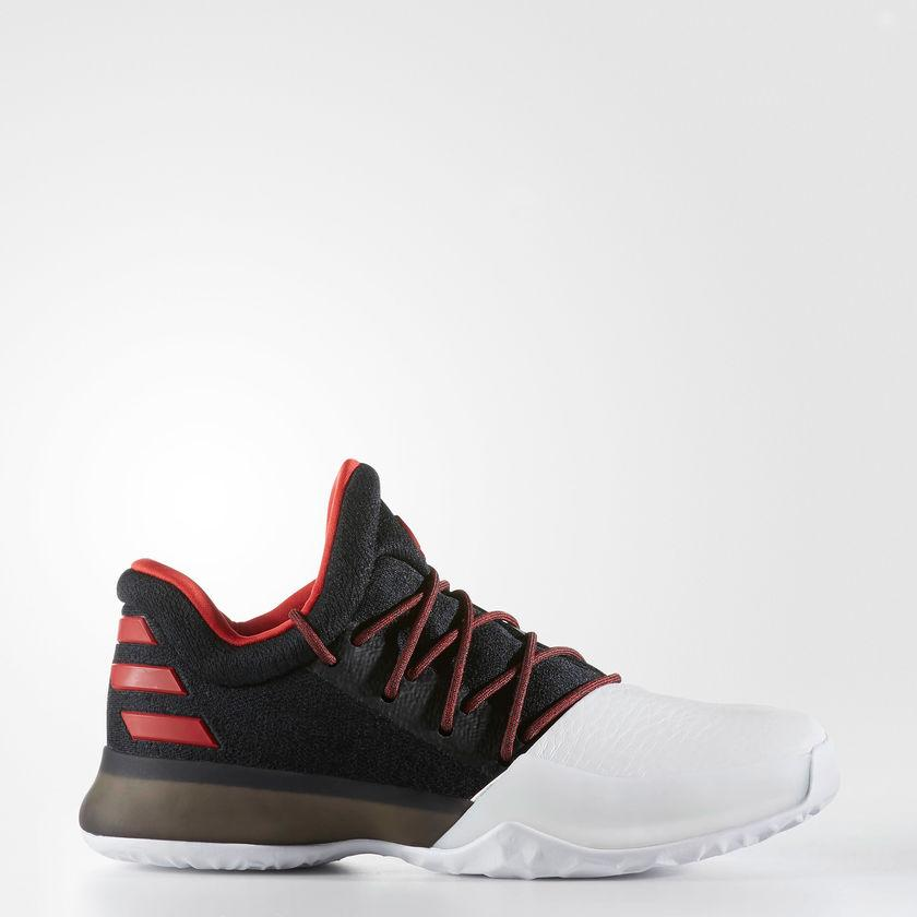 Kid's adidas Basketball Harden Vol. 1 Shoes Black with Scarlet Red and White BW0630 | Chicago City Sports | side view